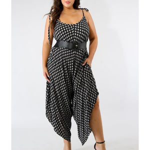 Plus Size Black & White Printed Oversized Jumpsuit